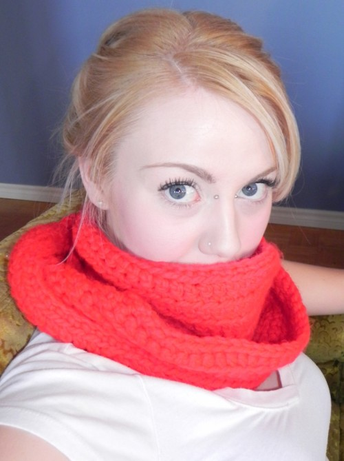My momma crocheted me this amazing, red, loopy scarf! I love it really a lot. It is soft and warm and I wear it all-the-time-even-inside.