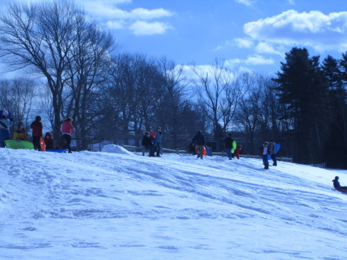 The kids go sledding at recess.
