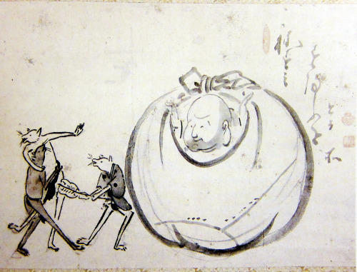"Hakuin Ekaku (1685-1768) - Hotei Watching Mice Sumo ""Hotei (in Chinese, Budai, literally 'cloth bag'), a portly monk who shoulders a large sack on a pole, made his first appearance in a tenth-century Chinese text and soon became a favored subject for Zen art … This painting of Hotei watching mice engaged in sumo wrestling is another example of Hakuin's idiosyncratic vision of the wandering monk. Hakuin's inscription is nestled at the top right: 'This is where mice do sumo.'"" - From The Sound of One Hand: Paintings and Calligraphy by Zen Master Hakuin @ the New Orleans Museum of Art"
