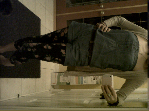 Floral tights, jumper, long cardigan- I love it