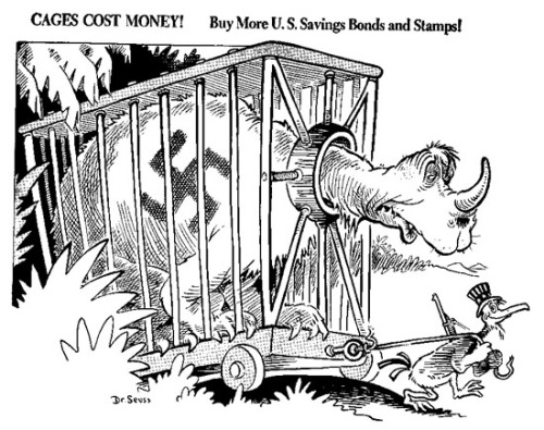 One of Dr. Seuss's WWII propaganda cartoons supporting war bonds to cage the Nazi beast. Source: University of California