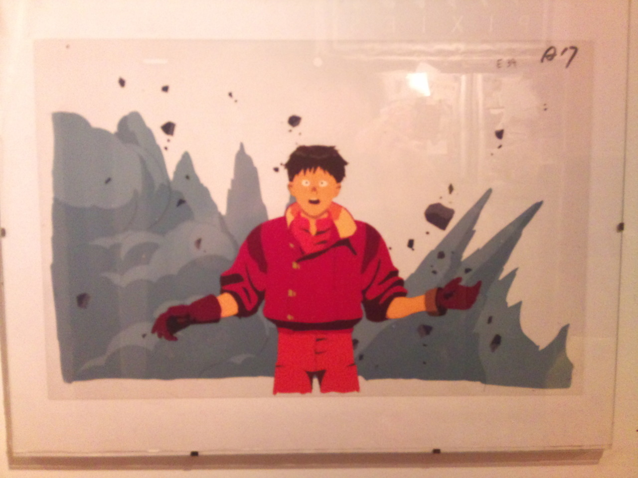 "Animation cells from landmark manga ""Akira"". They live on a wall in my kitchen."