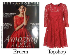 Alexa Chung ID'ed: Where to get it?Alexa is wearing a dress from Erdem that looks like this dress from Topshop. It's not available at Topshop anymore so you should try to get it on Ebay.