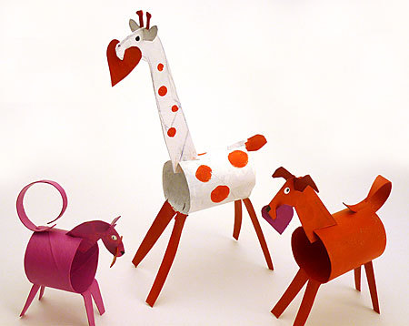 unconsumption:   These adorable Toilet Paper Tube Valentine Animals are an awesome reuse project that doesn't scream reuse.   Toilet Paper Tube Valentine Animals @Craftzine.com blog coolest. valentines. ever.