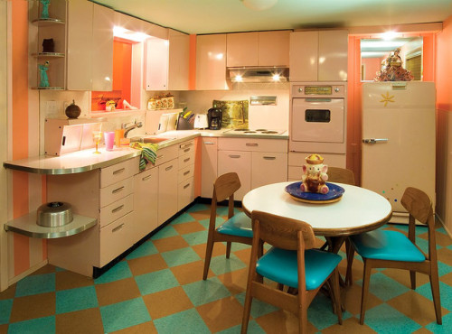 The perfect 50's pink kitchen. Lazy Meadows, Pink Kitchen (by Michael Hnatov)