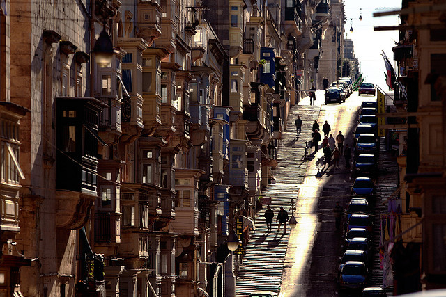 | ♕ |  {photo of the day}  Steep Streets, Valletta - Malta  | by © gege.gatt  via worldheritagesites | e-s-p-r-i-t | alexxandra81