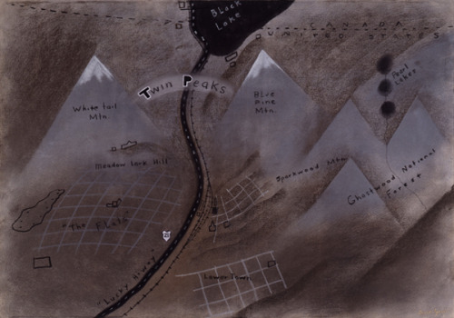 flavorpill:  David Lynch's map of Twin Peaks. Click through for more images from In the Trees
