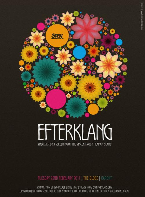 SWN presents… EFTERKLANG (plus a screening of the Vincent Moon film 'An Island', at The Globe, 22nd February 2011. Design by by Carl Rylatt at Burning Red.