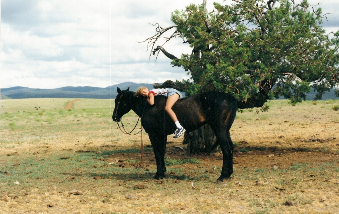 Flashback Friday: Me on Zorro at my parents' ranch in Northeastern Arizona. I was probably about 12. Zorro was one of my favorite ranch horses because he was fast. He could outrun all the others. Also, saddles are for wimps: part 2. I decided to post this photo today after reading and listening to this NPR bit about why girls love horses.