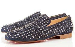 exceptforthisone:  Christian Louboutin made a denim version of their Rollerboy Spiked Loafers… Let the swooning begin!