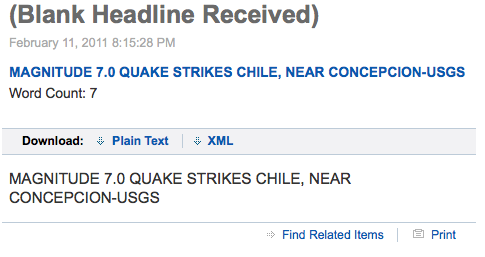 producermatthew:  From the Reuters urgent wire.  The 2010 Chilean earthquake struck Concepcion on February 27. More information at the USGS website.