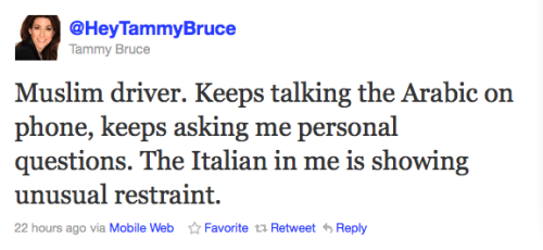 "I realize my ""thing"" with Tammy Bruce is a monumental waste of time, even for me, but blatant Muslim bashing always catches me off-guard.  I think Muslim cabbies have been through enough without having to cart your shrill, bigoted ass around, Tammy.  What an utterly worthless person."