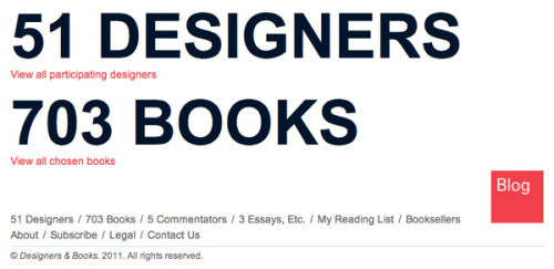 Designers & Books is devoted to publishing lists of books that esteemed members of the design community identify as personally important, meaningful, and formative—books that have shaped their values, their worldview, and their ideas about design. From Vitruvius to William Morris to Frank Lloyd Wright to Edith Wharton to Le Corbusier to Paul Rand—there has always been a particularly special and robust relationship between designers and books: reading them, writing them, designing them, collecting them, learning from them, and being inspired by them.   The Designers & Books website was designed by Pentagram. Brian Wu of Inside Out Design is the project manager and produced the site; Ocean-7 Development programmed it, under the supervision of Mark Alhadeff. Eric Shober provided technical assistance. The editor is Stephanie Salomon. Melea Seward is the marketing and social media consultant. Designers & Books was created by Steve Kroeter, who is editor in chief. He is also president of Archetype Associates.