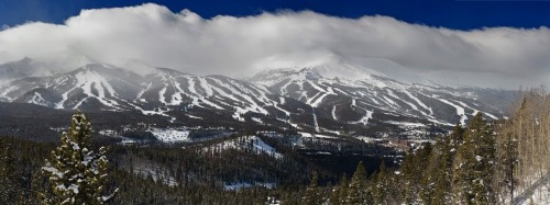 We drove up the Boreas Pass above Breckenridge (Colorado) to take a few shots of the whole mountain to showcase the ski runs. This is 5 images stitched together.