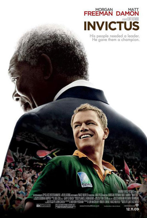 #44 Invictus A biopic film surrounding the events of the 1995 South African victory in the rugby World Cup and the lead up to it surrounding the abolishment of the apartheid and the appointment of Nelson Mandela as the president. For whatever reason I've remained largely ignorant to the life of Nelson Mandela. I was aware of the name, that it was fairly synonymous with non-violent means of resistance, and that he had spent a large chunk of his life in jail but not a great deal about the reasons behind it and the culture that bred such responses. In this respect, I am sure I came into this film differently to the vast majority of those that viewed it. Firstly it's a Clint Eastwood directed film and as such that generally means its going to be good film. While it doesn't wow in the same way Gran Torino or Million Dollar Baby did, it is still a fairly solid film displaying the message it was intended to deliver. Morgan Freeman provided a good portrayal of Mandela and mimics his voice rather well but due to the grandeur of both Mandela and Freeman as individuals it's hard to see Freeman being Mandela in the same way he can adopt fictional characters. There is never really a point when he stops being Freeman and is only Mandela. It's not a bad thing it's just something you need to accept while viewing. Matt Damon does a good enough South African accent to my ears but then I don't think i've ever actually heard someone in real life use one. In terms of performance, he works well enough and actually looks like he could be a real rugby player.  Good film but it seems like a little bit of a step down for Eastwood this time around. 3/5. Edit: Ok, that's kinda freaky. I was reading up on Mandela after I watched this/wrote this and discovered Mandela was released on the 11th of February 1990. I literally couldn't decide which film I wanted to watch tonight to I put all the choices into a random choice generator and it chose Invictus O.O What are the freakin' odds?