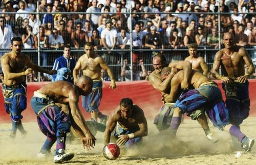 """Calcio Storico Fiorentino"" is a form of football played since the 16th century. It allows head butting, punching and choking. HELL YES"