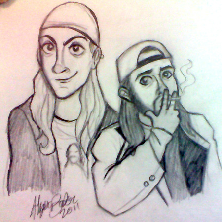 Quick fanart friday — Jay and Silent Bob. I'm a fan of Kevin Smith and I'm actually going to see his Red State U.S.A Tour in March as a birthday gift to myself. Exciting! I'll have to do a polished, more than 20 minute drawing of these two sometime — they were fun to draw, but a LOT of mistakes in this. Biggest one? Silent Bob looks tiny in comparison to Jay, but he's in FRONT of him. Ugh. Practice makes perfect I guess.