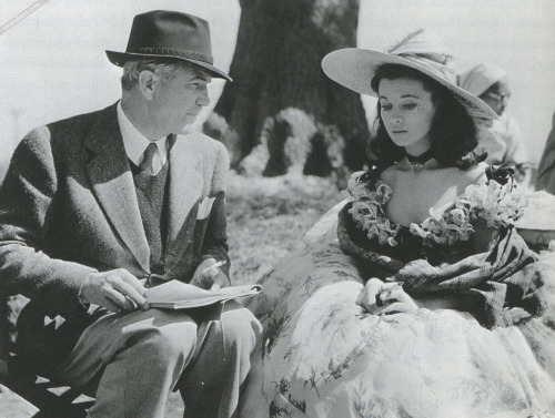Director Victor Fleming with Vivien Leigh on the set of Gone with the Wind, 1939