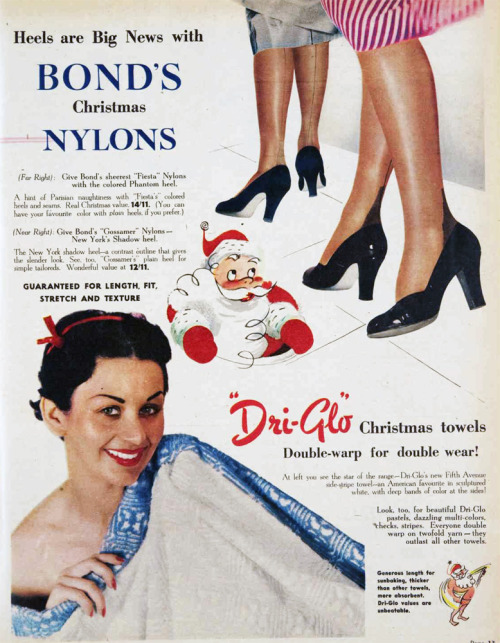 Heels are big news with Bonds' Christmas nylons. 1952.