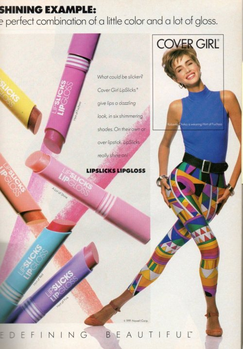 Those of us who are awaiting the second death of the leggings trend are probably people who remember when leggings meant this. However, Lipslicks were the bomb. I loved that shit.
