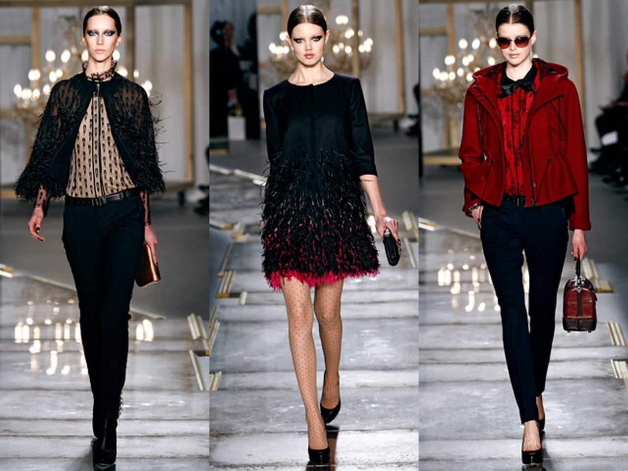 "Jason Wu Fall 2011/2012 Tailoring plays a large role in Jason Wu's collection. Not surprisingly, it played a large role in his collection for fall. But what sets this utilization of technique and skill apart from the other instances is the fact that this time tailoring served as a champion for the idea behind the clothes; that is, the precise, exquisite tailoring served to reinforce the idea of simple yet ""baroque"" sportswear. That type of balanced aesthetic runs throughout this feminine, yet austere collection. As for the baroque, an ambitious Jason Wu took many of the pieces to the precipice of bombast. Elegant paillettes were meticulously applied to an even more elegant canvas of gilded lace to create the dress worn by Joan Smalls; ombré-esque feathers were applied to the silken dress on Lindsay Wixon; the feathers also found presence on the sheer cardigan worn by Alana Zimmer. The baroque idea even touched the smaller details; instead of leaving a gray coat in an otherwise minimalist state, Wu decided to apply a small strip of black lace down the sleeve. A fitting touch. However, never failing to fulfill a minimalist tendency, Wu put these baroque elements on the backdrop of some equally simplistic elements. Alana Zimmer's sheer, feather embroidered cardigan was intelligently paired with sporty, sleek pants, while the red blouse ensemble on Julia Saner (shown right) was anchored by a practical red jacket. Even the impressive dress on Joan Smalls was done in a simple, form-fitting silhouette. Such smart, elegant balance is hard for some older designers to attain; such harmonious swing between the baroque and the practical is not something that everyone can do. If anything is indicative of Jason Wu's talent, it is certainly his mastery of this relationship between the two aesthetic opposites. That being said, it may not be most prudent to conclude that Wu is the emperor of 21st century American fashion, but somethings about this excellent, young designers are true. One of those is that he is certainly rising in the ranks."