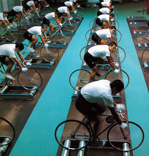 ridetheblackline:  KEIRIN TRAINING 1994   This stunning image has been flying around the internet for the past couple days.  Training on the pro Japanese Keirin circuit is pretty intense but that's the job.  In my opinion it's gotta be a whole lot better than something like this.  For lots more awesome images check out the Numerious Flickr.