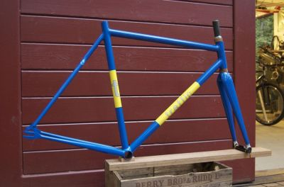 I'm shopcleaning, and it's time to sell this frameset.  I built it a year or two ago as a shop floor model, and it's been sitting on a shelf, unridden, since then.  It's made with Columbus Zona double-butted main tubing, Kalavinka dropouts, and a Strawberry Cycle Sport wishbone with True Temper seatstays.  It comes with a painted-to-match Alpha-Q carbon fiber fork.   It's now on sale for $500 with FREE shipping on our webstore.
