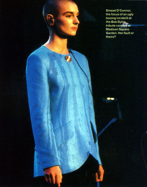 Sinead O'Connor on stage at the Bob Dylan Tribute Concert, Q Magazine, 1992.