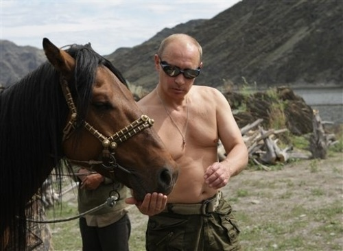 Putin loves horses. Putin loves haven his top off. This picture is of topless Putin and a horse