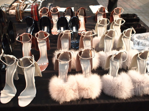 evachen212:  marshmallow FLUFF: love these furry, fluffy shoes backstage @ Alexander Wang! not sure how practical they'll be in NYC though, hmmm