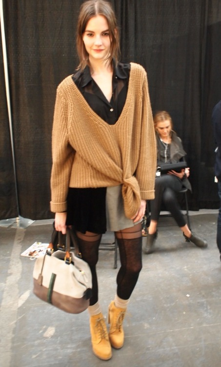 evachen212:  model style backstage @ Alexander Wang… love the oversized sweater