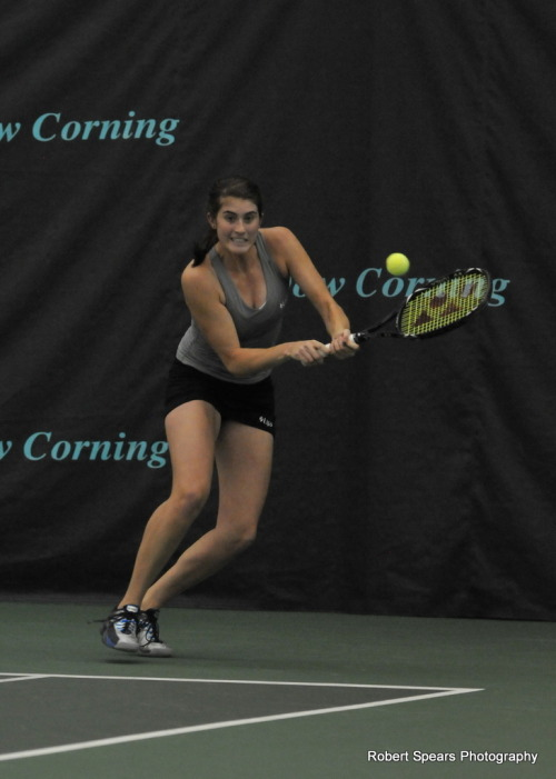 Rebecca Marino of Canada wears Lija at the Dow Corning Tennis Classic in Midland, MI.