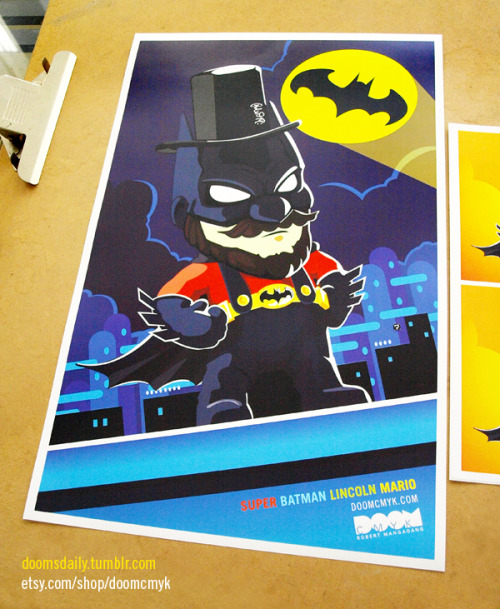 Super Batman Lincoln Mario 11x17 poster and stickers available at: http://www.etsy.com/shop/DoomCMYK