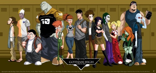 "via dailyblam.com  OTAKUism: Gotham High (c/o '09) [Lt-Rt] Clayface (Matt Hagen), Two-Face (Harvey Dent), The Penquin (Oswald Cobblepot), Killer Croc (Waylon Jones), The Riddler (Edward Nygma), Batgirl (Barbara Gordon), Batman (Bruce Wayne), The Scarecrow (Jonathan Crane), Catwoman (Selina Kyle), The Joker (""Jay""), Harley Quinn (Harleen Quinzel), Poison Ivy (Pamela Isley), Bane, & Mr. Freeze (Victor Fries)"