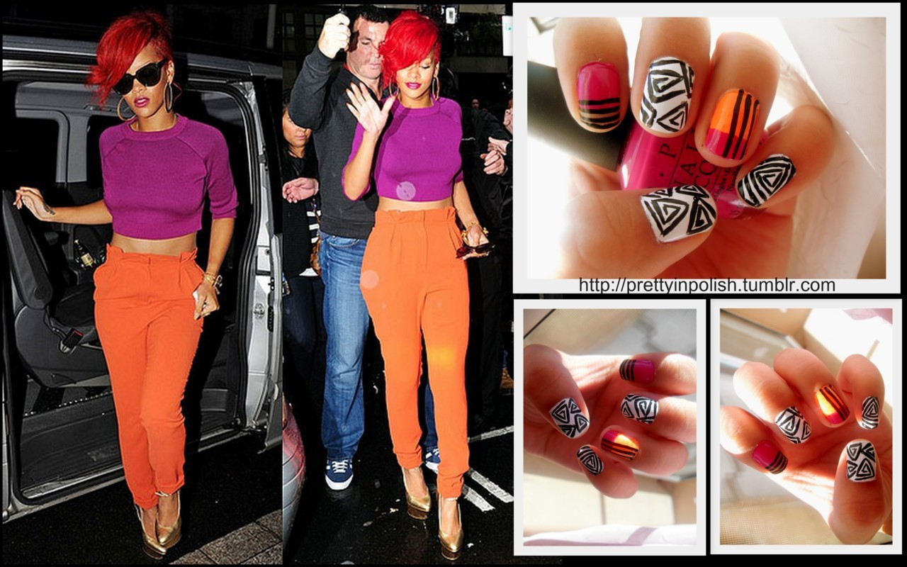 Rihanna's oufit inspired nails. I'm going to be doing more of these outfit inspired nail art!