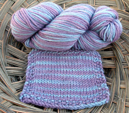 hand-dyed this merino yarn with cochineal and indigo