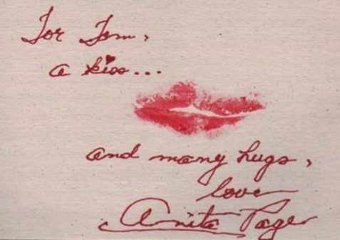 Anita Page autograph and lipstick kiss
