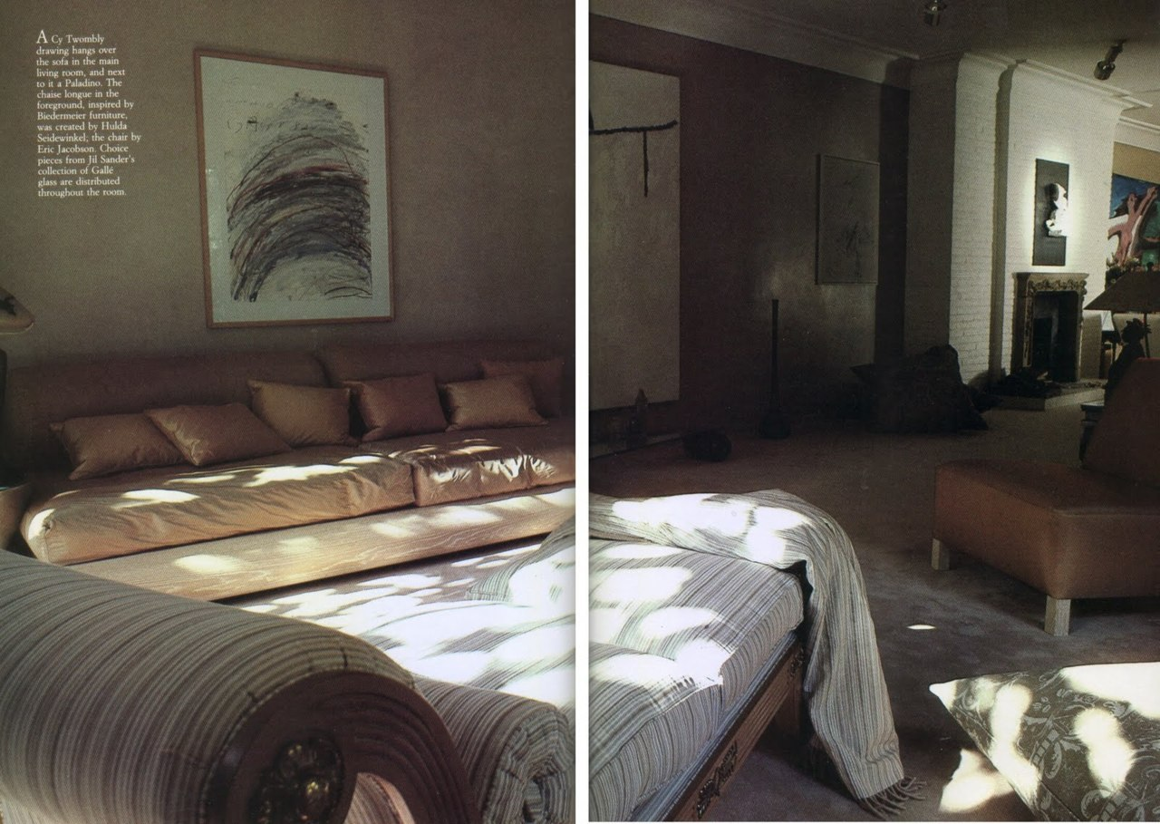 Jil Sander's living room in her Hamburg home