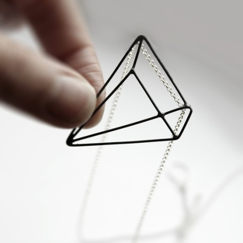 Pyramid Illusion  sterling silver necklace with by andrea0503