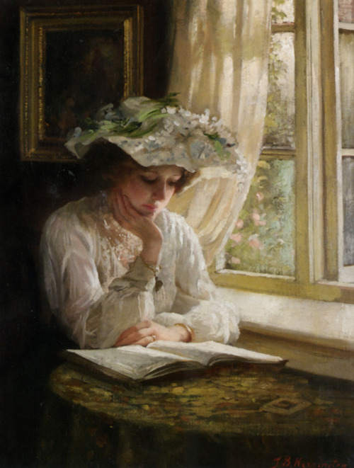 aquietsunday:  Lady Reading by a Window by Thomas Benjamin Kennington