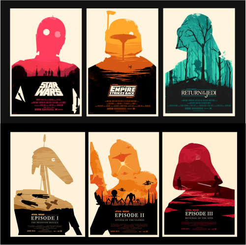 Courtesy of Minimalmovieposter , Ollie Boyd for the prequels and Olly Moss for the original trilogy.