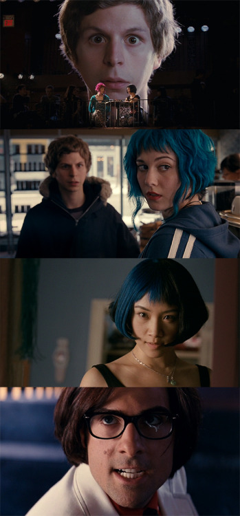 moviesinframes:  Scott Pilgrim vs. the World, 2010 (dir. Edgar Wright) By vexate  This is really, really, really, REALLY making me want to get those blue highlights. AGH.