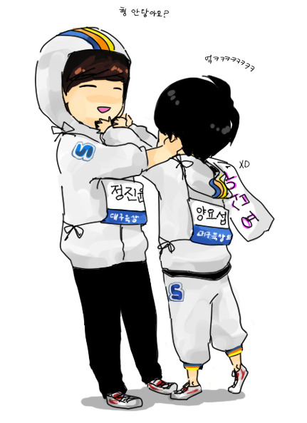 @Songhawoo Jinwoon and Yoseob fanart how cute >,<