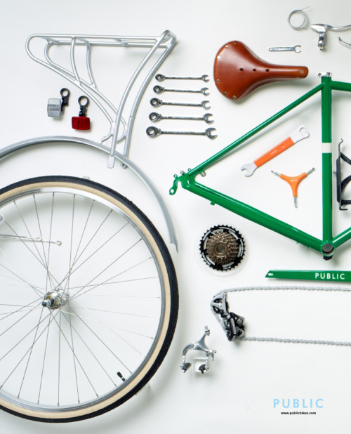 Even unassembled PUBLIC bikes are handsome. PUBLIC Bike disassembled & organized for Gap display. From thingsorganizedneatly.