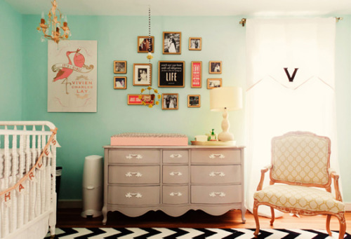 gluestickgirl:  House of Turquoise: Vivi's Aqua and Coral Nursery
