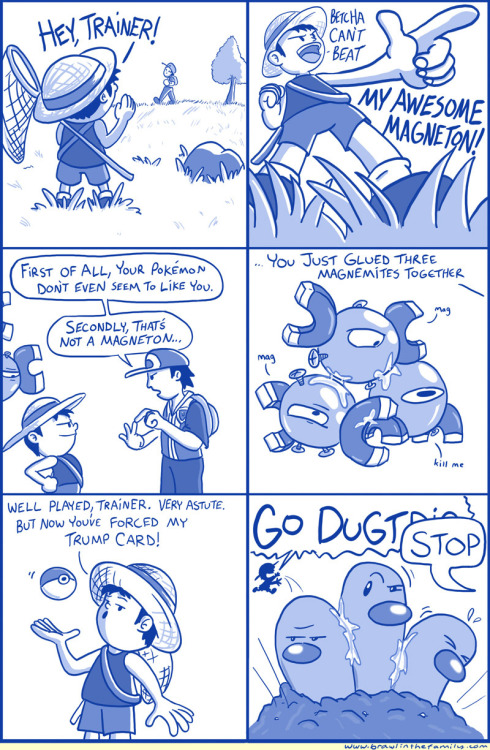 reclusivegamer:  Magneton and Dugtrio used Mutiny! It was super effective. Also, if he has a 'Magneton' and a 'Dugtrio' why is he dressed like a Bug Catcher?  Ahhhh, man, this is great. >.<