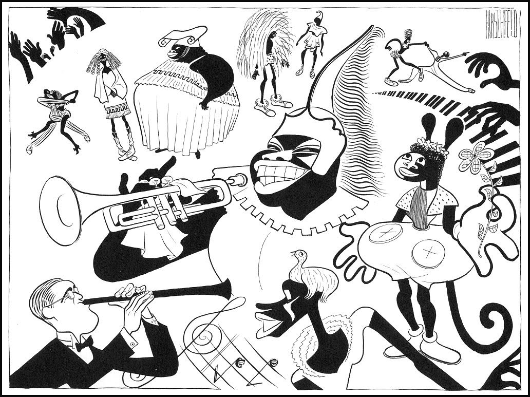via 3.bp.blogspot.com An illustration by the incredible Al Hirschfeld.  I could look at his caricatures all day.  I can only guess what this is for, but it looks like various jazz types in a variety of odd costumes.  I can only identify two of them, Benny Goodman in the lower left (for some reason not in a weird costume), and Louis Armstrong as the big old Spartan right in the middle.  I would love to know what this was for.  Many more here.