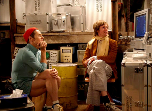 helloattraction:  Wes Anderson and Willem Dafoe. Wes's sneakers ;)