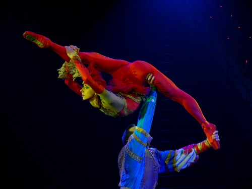 Viktoria Hill and Nikolai Spira perform in the Moscow Nikulin Circus.