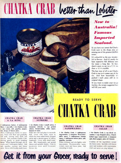 vivatvintage:  Chatka Crab - better than Lobster! New to Australia! Famous imported seafood! 1952.
